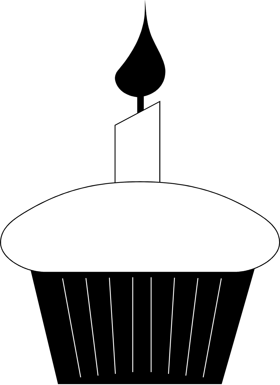 Illustration of a cupcake with a candle : Free Stock Photo