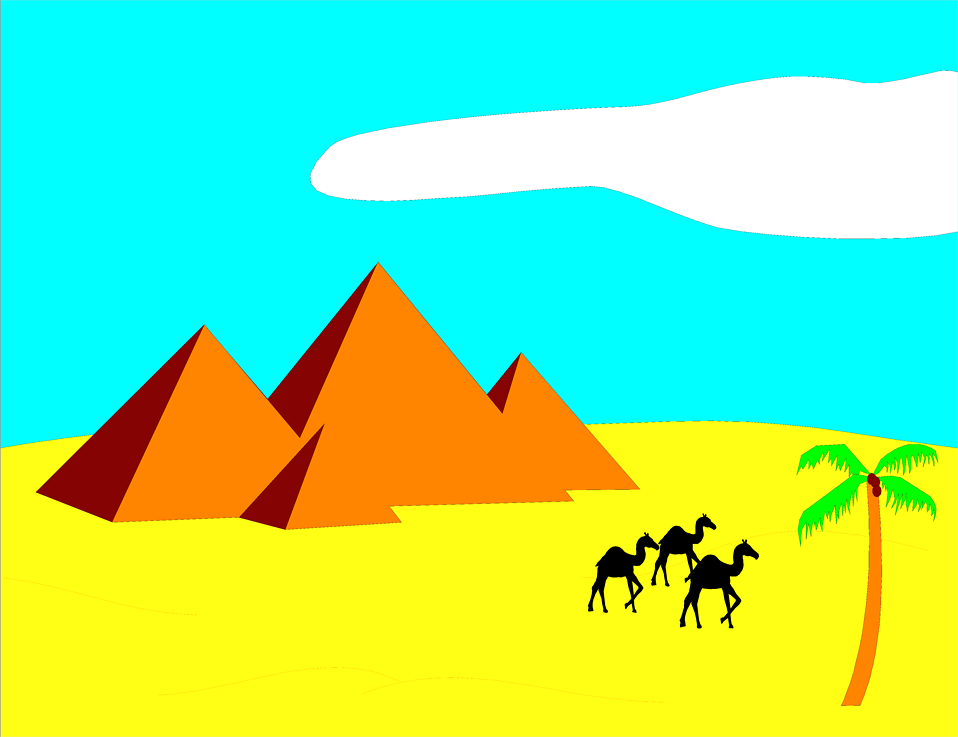 Illustration of pyramids in the desert with camels : Free Stock Photo