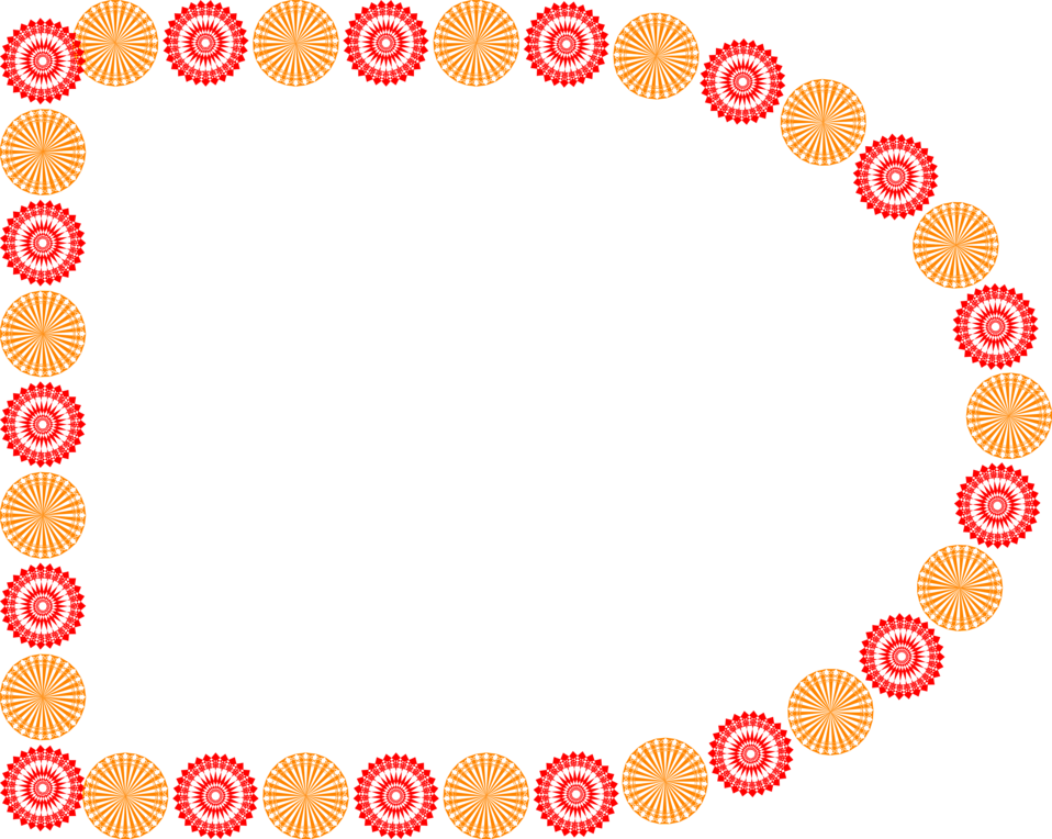 Illustration of a blank frame border with orange and red shapes : Free Stock Photo