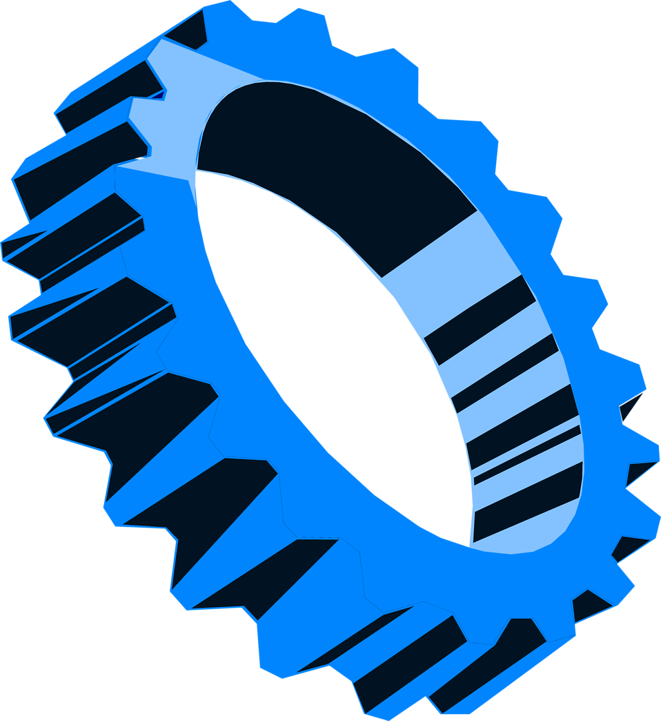 Illustration of a blue gear : Free Stock Photo
