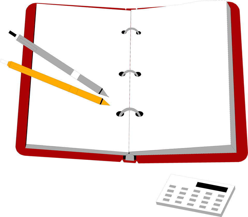 Illustration of an organizer with pens and a calculator.