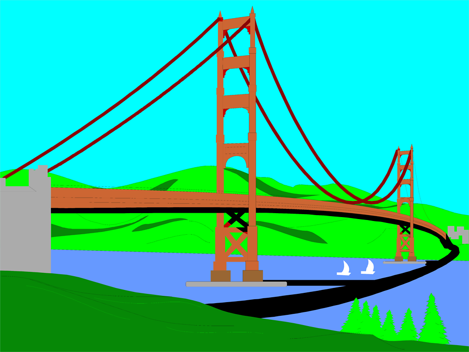 Illustration of the Golden Gate Bridge in San Francisco : Free Stock Photo