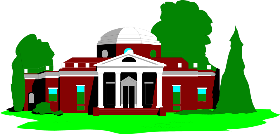 Illustration of Monticello in Virginia.