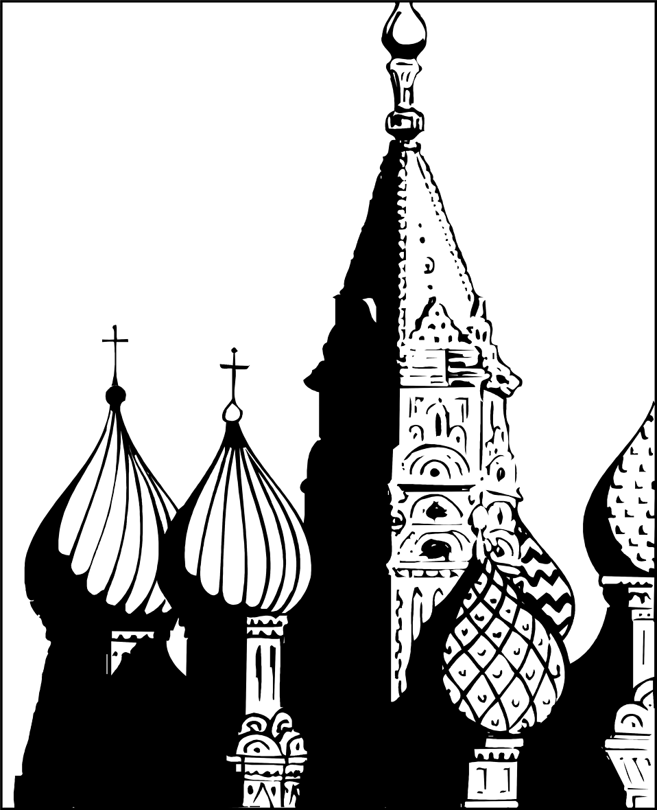 Illustration of St Basils Cathedral in Moscow, Russia.