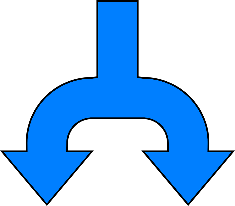 Illustration of a split blue down arrow : Free Stock Photo