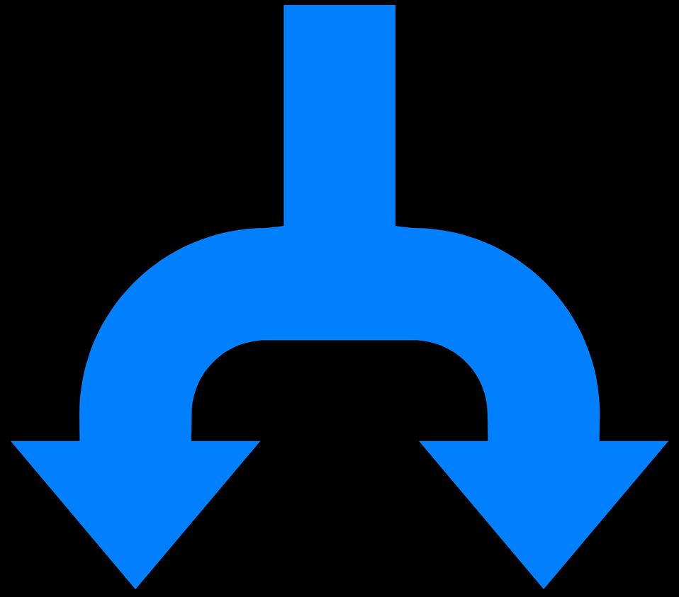Illustration of a split blue down arrow : Free Stock Photo