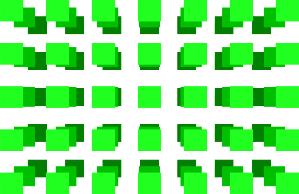 Illustration of a 3d green square pattern.