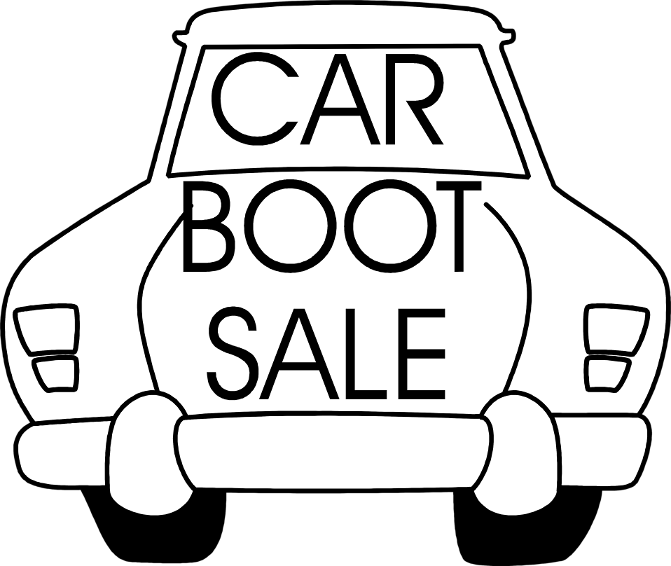 Illustration of a car with sales text.