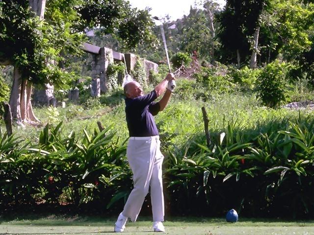 A man swinging a golf club : Free Stock Photo