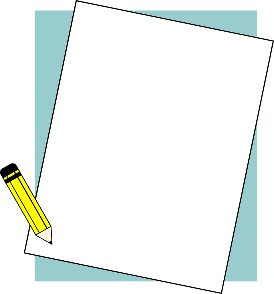 illustration of a blank paper frame with a pencil free stock photo
