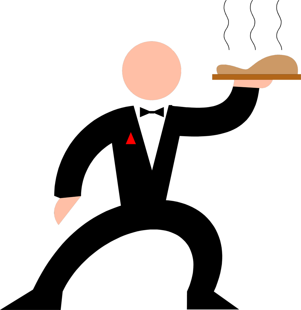 Illustration of a waiter with a tray of food : Free Stock Photo