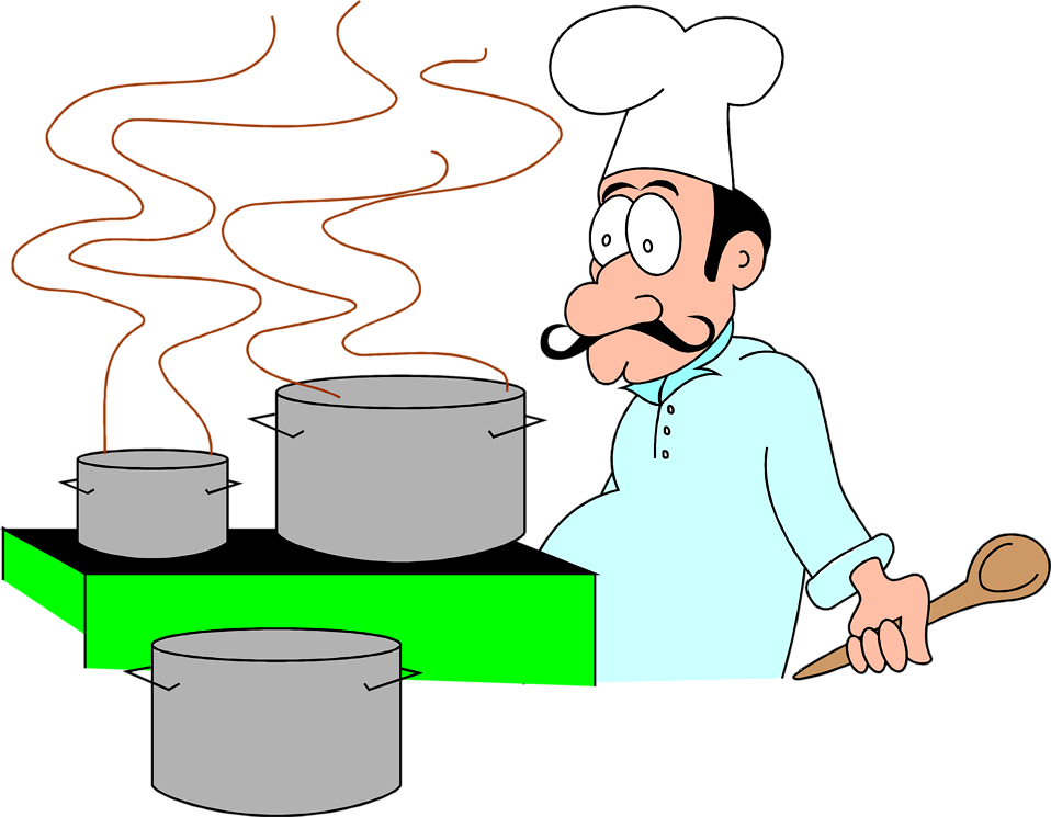 Illustration of a cartoon chef with cooking pots : Free Stock Photo