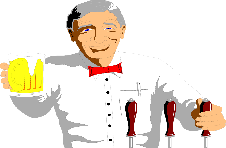 Illustration of a bartender with a beer : Free Stock Photo