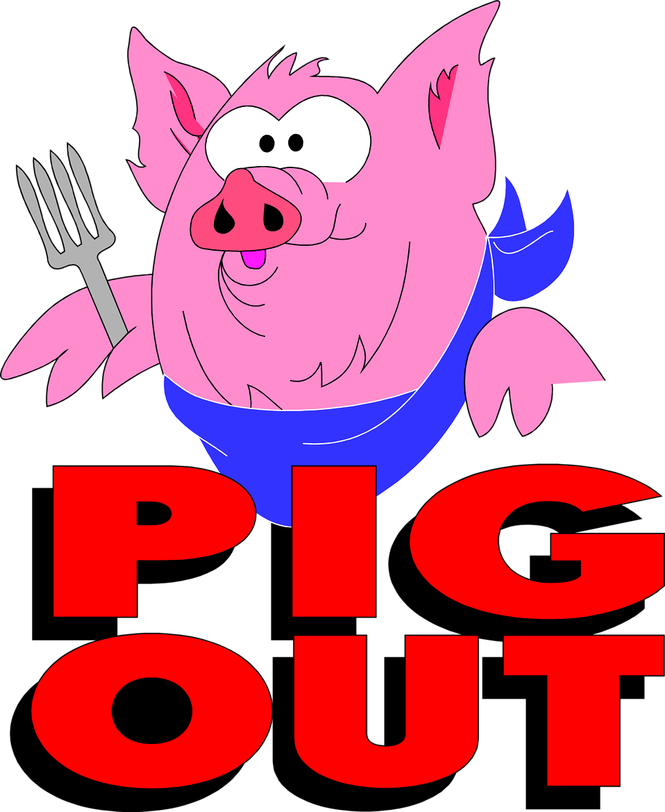 Illustration of a pig and pig out text : Free Stock Photo