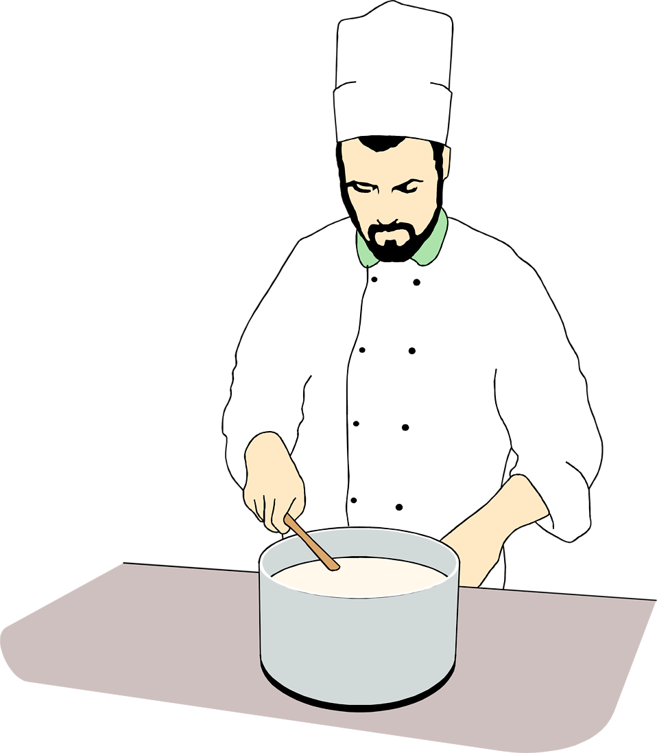Illustration of a chef stirring a pot : Free Stock Photo