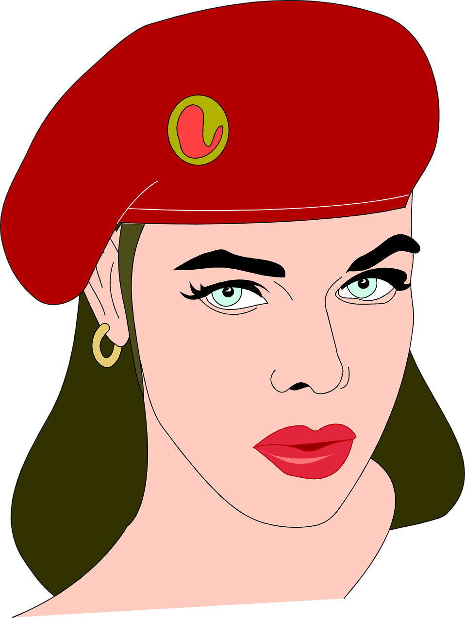 Illustration of a beautiful woman wearing a beret : Free Stock Photo