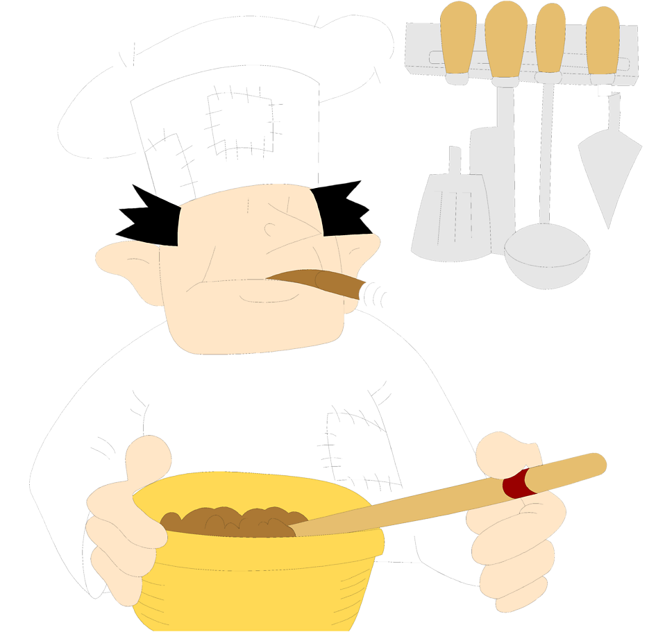 Illustration of a chef stirring a bowl smoking a cigar : Free Stock Photo