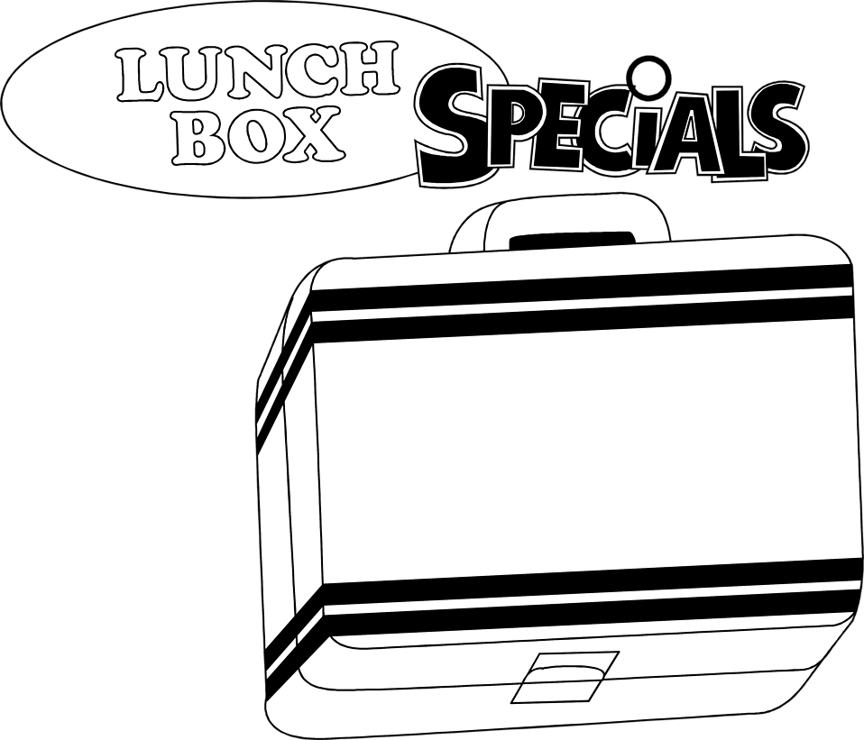 Illustration of a lunch box with text : Free Stock Photo