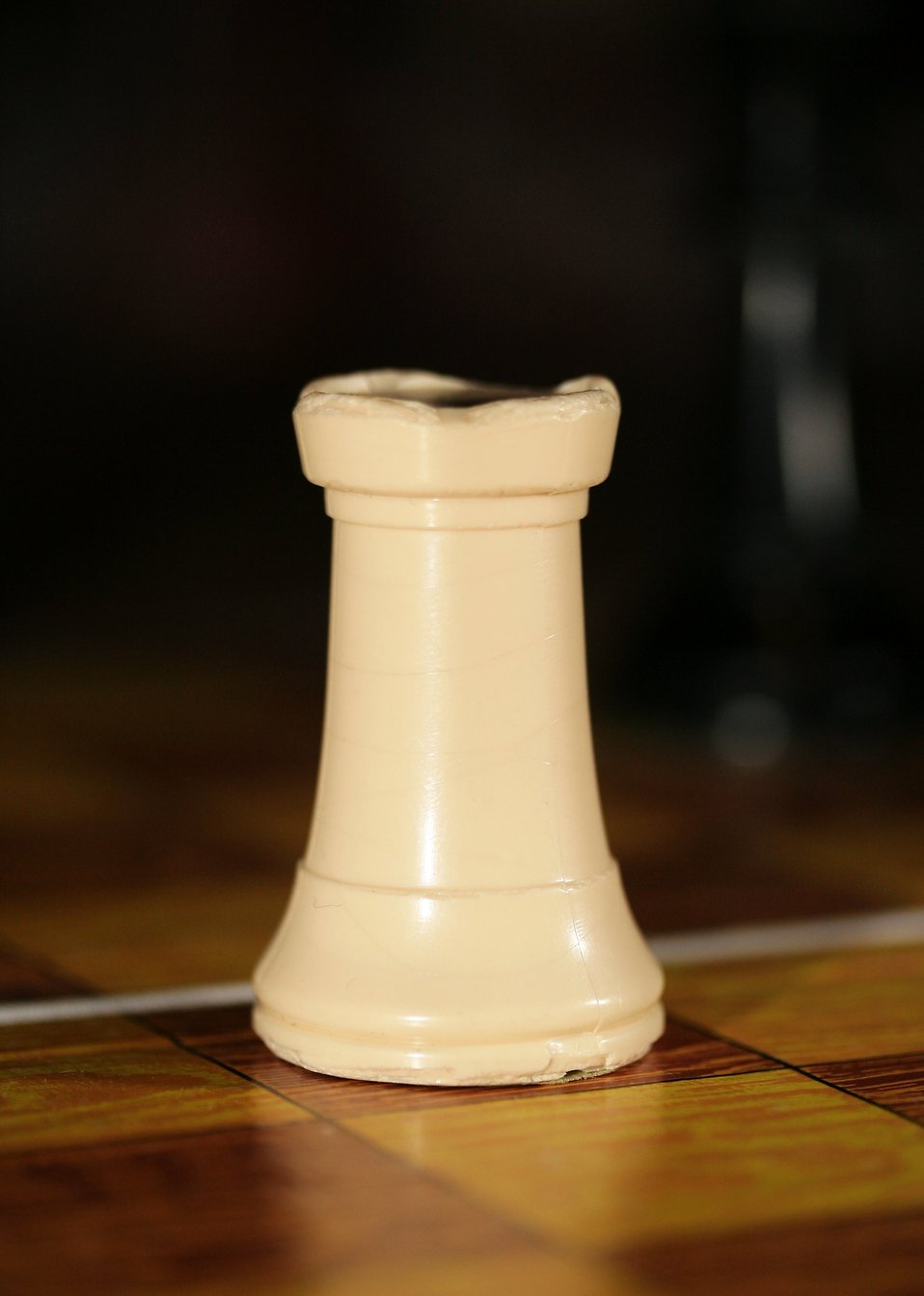 Close-up of a white chess rook piece : Free Stock Photo
