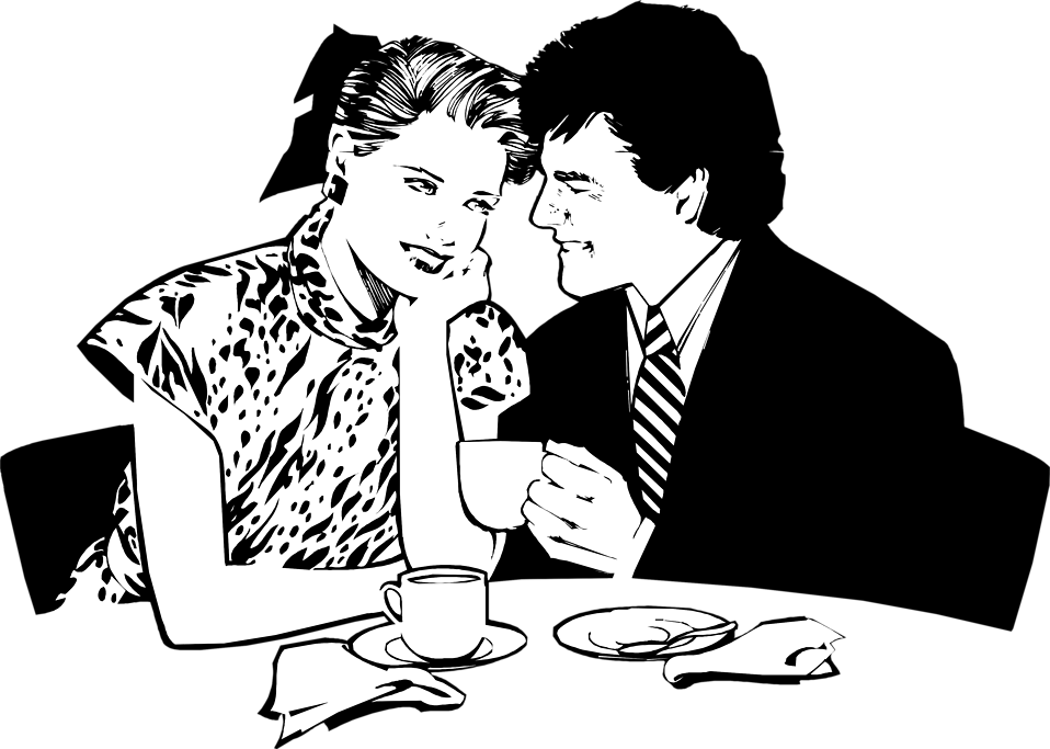 Illustration of a couple having a romantic dinner : Free Stock Photo