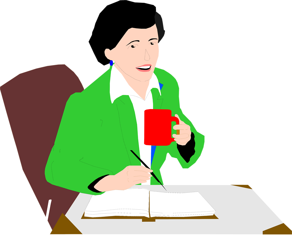 Illustration of a woman on a coffee break : Free Stock Photo