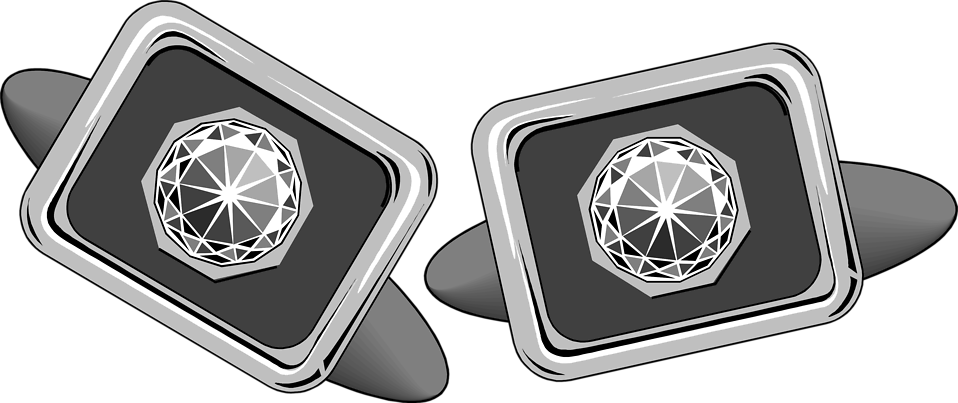 Illustration of cufflinks with gems : Free Stock Photo