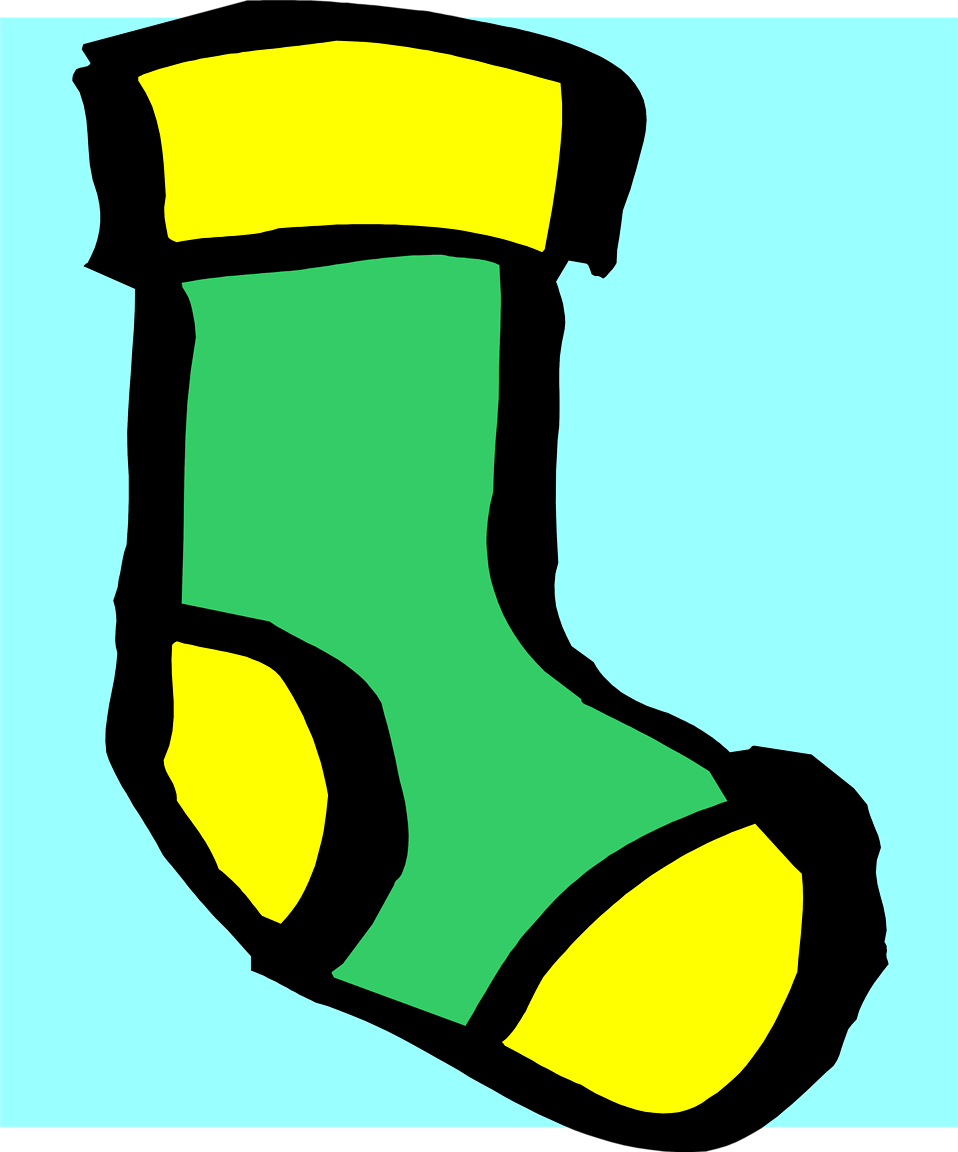 Illustration of a green and yellow sock : Free Stock Photo