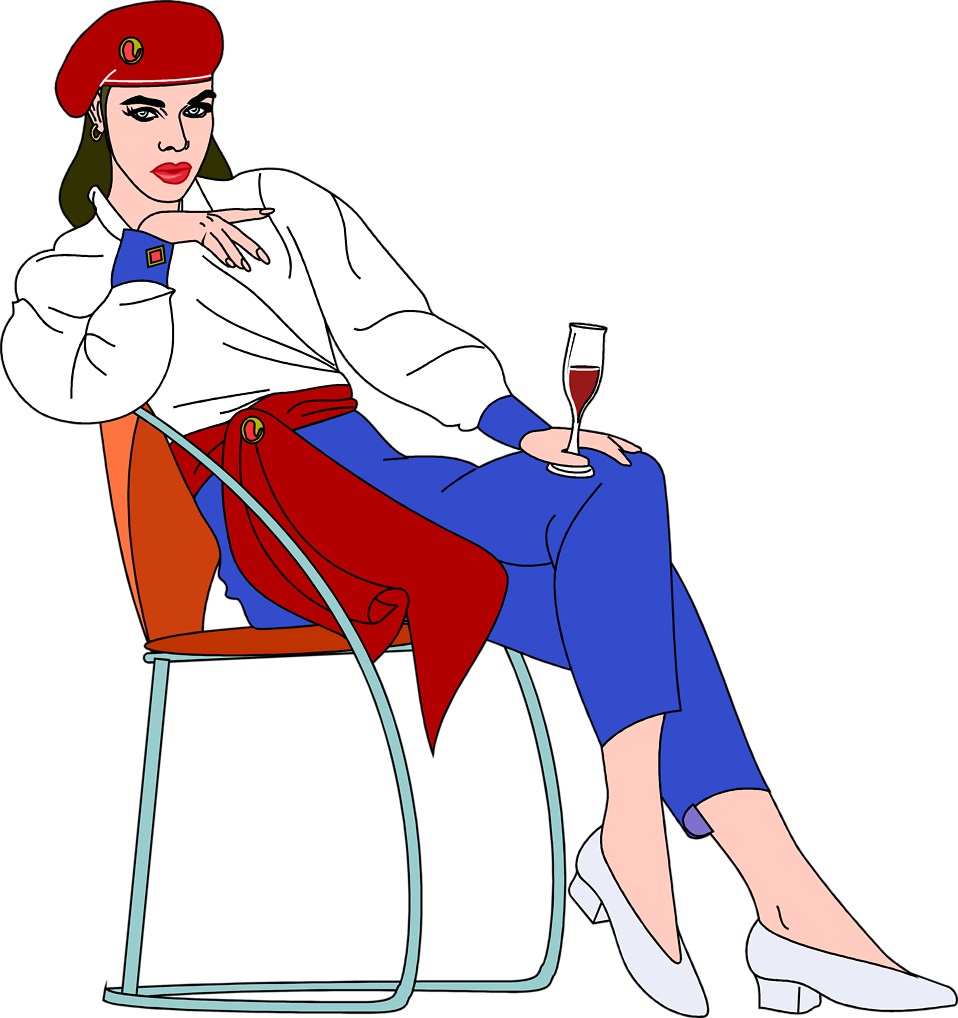 Illustration of a beautiful woman sitting in a chair drinking wine : Free Stock Photo