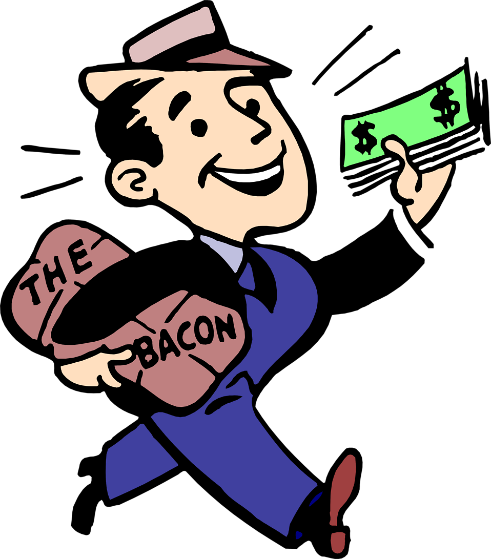 Illustration of a man with cash and bacon : Free Stock Photo