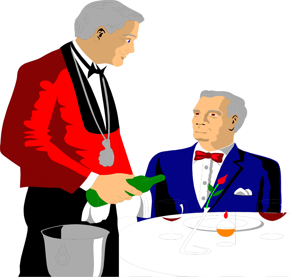 Illustration of a waiter pouring a drink for a customer : Free Stock Photo