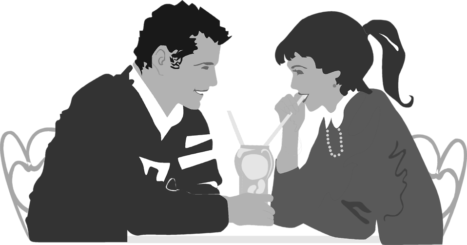 Illustration of a couple on a date : Free Stock Photo