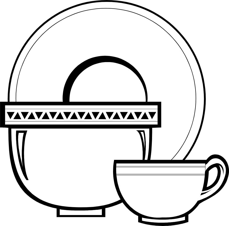 Illustration of a cup, bowl and a plate : Free Stock Photo