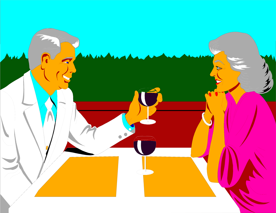 Illustration of an older couple having a romantic dinner : Free Stock Photo