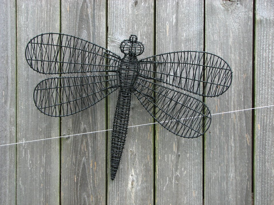 A wire dragonfly sculputure on a wooden fence : Free Stock Photo
