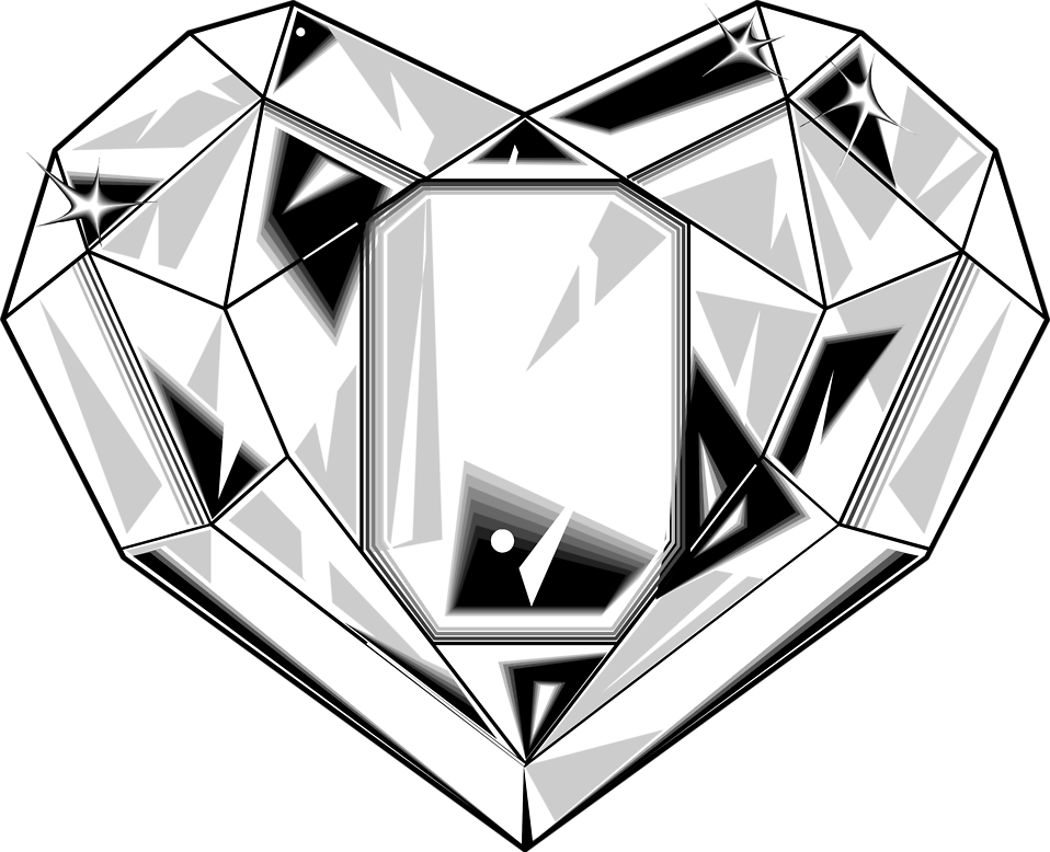 Illustration of a heart shaped diamond.