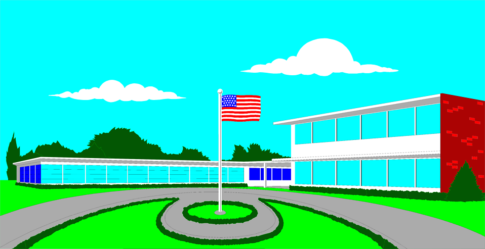 Illustration of a school with a flag outside : Free Stock Photo