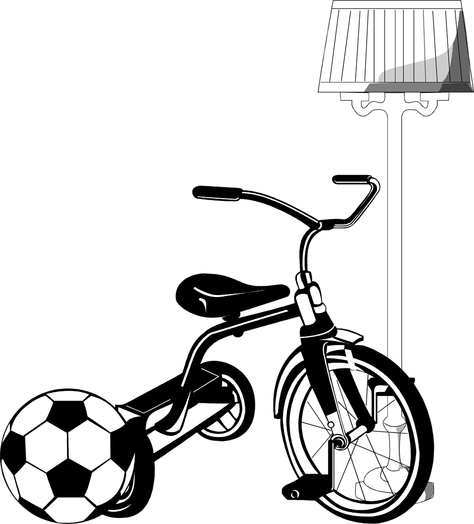 Illustration of a tricycle and a soccer ball : Free Stock Photo
