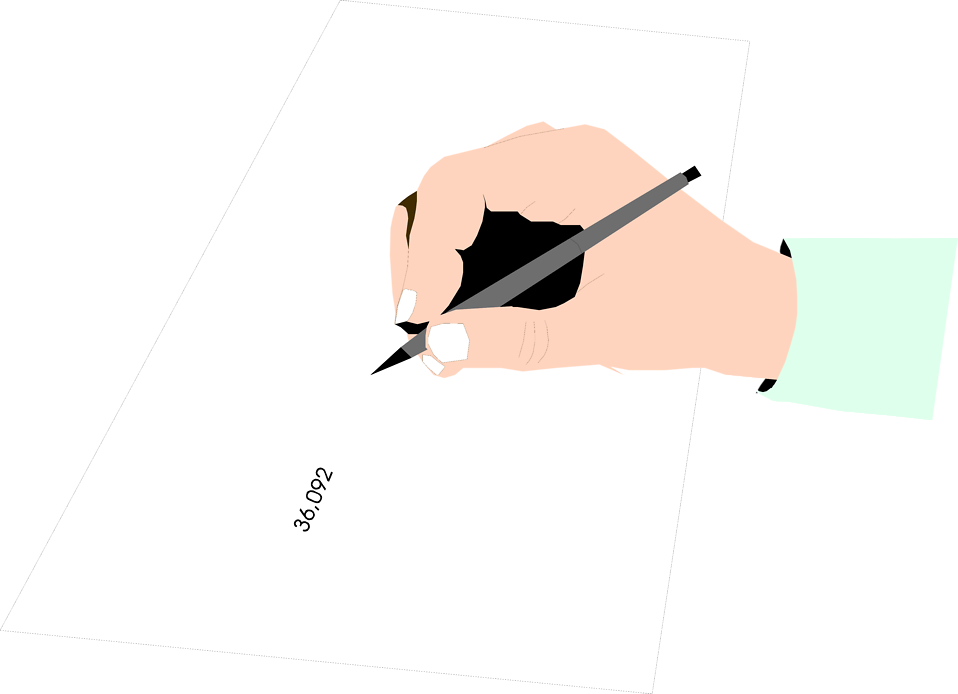 Illustration of a hand holding a pencil : Free Stock Photo