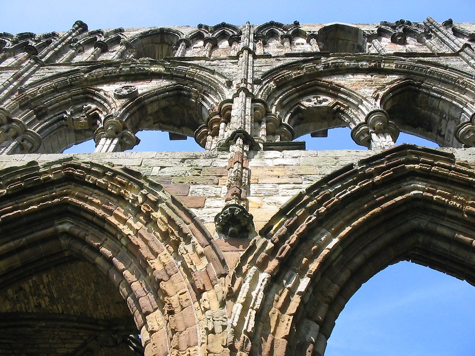 Close-up of arches at Whitby Abbey : Free Stock Photo