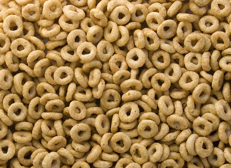 Close-up of round breakfast cereal.