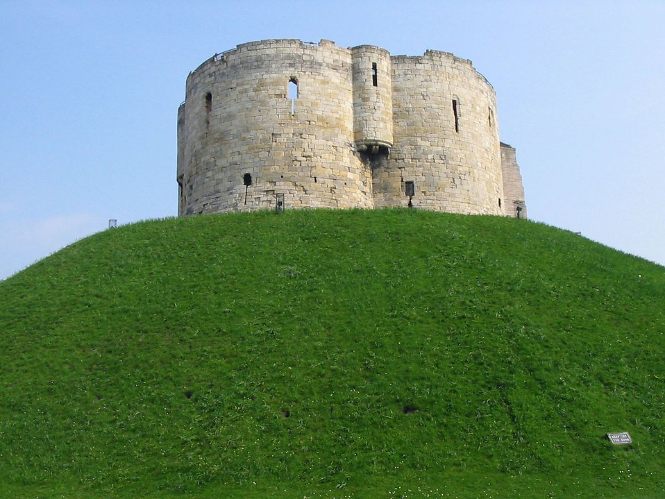 Cliffords Tower on top of a hill in York : Free Stock Photo