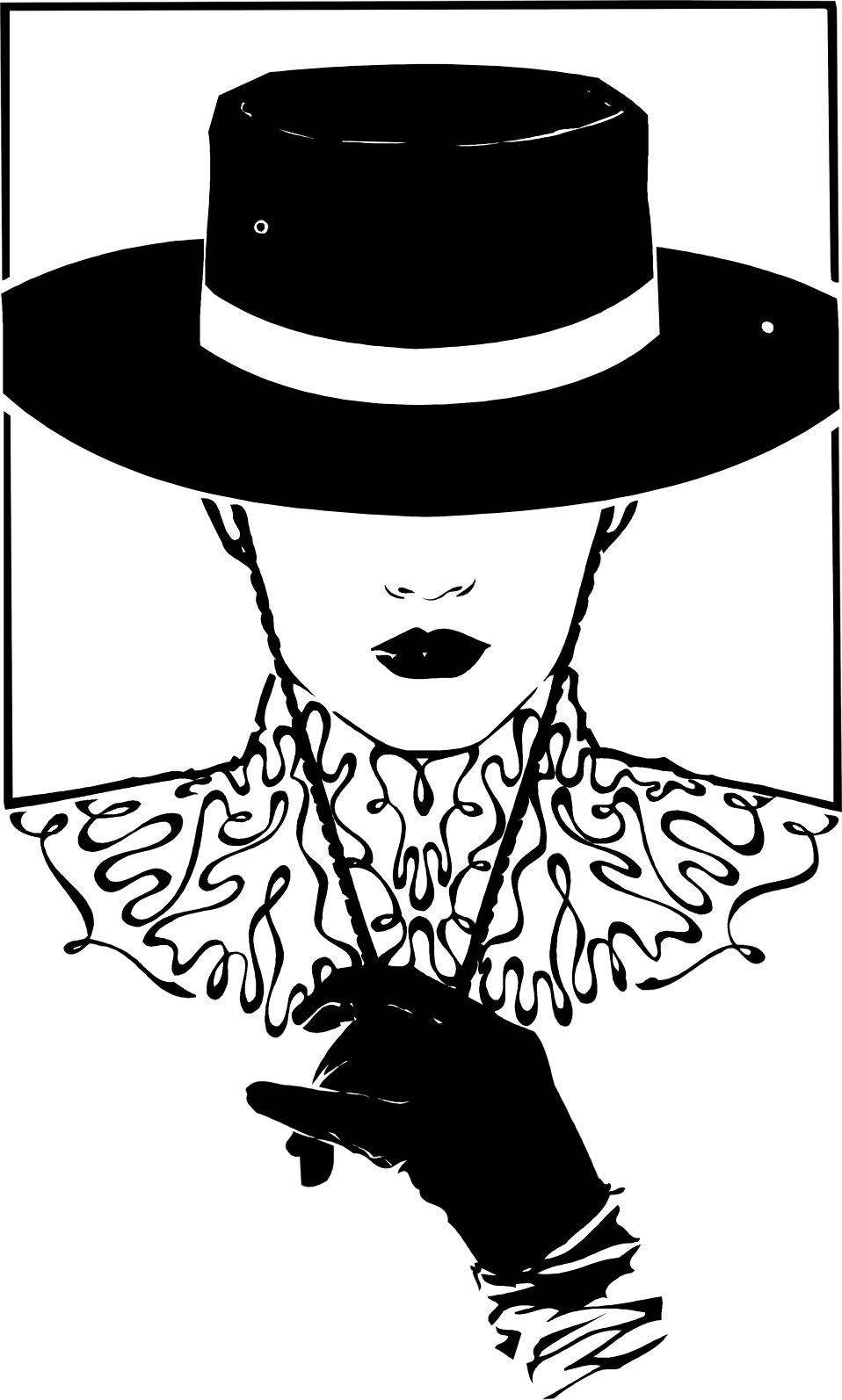 Illustration of a woman in a black hat : Free Stock Photo
