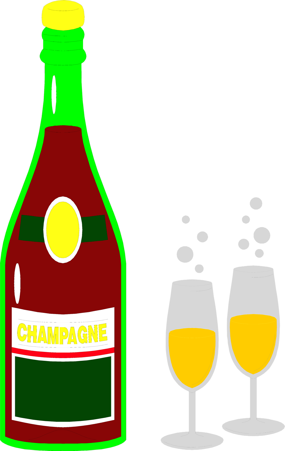 Illustration of a bottle of champagne and two glasses : Free Stock Photo