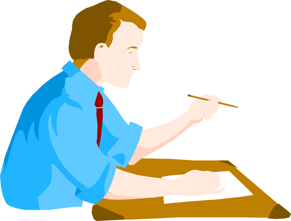 Illustration of a business man at a desk : Free Stock Photo