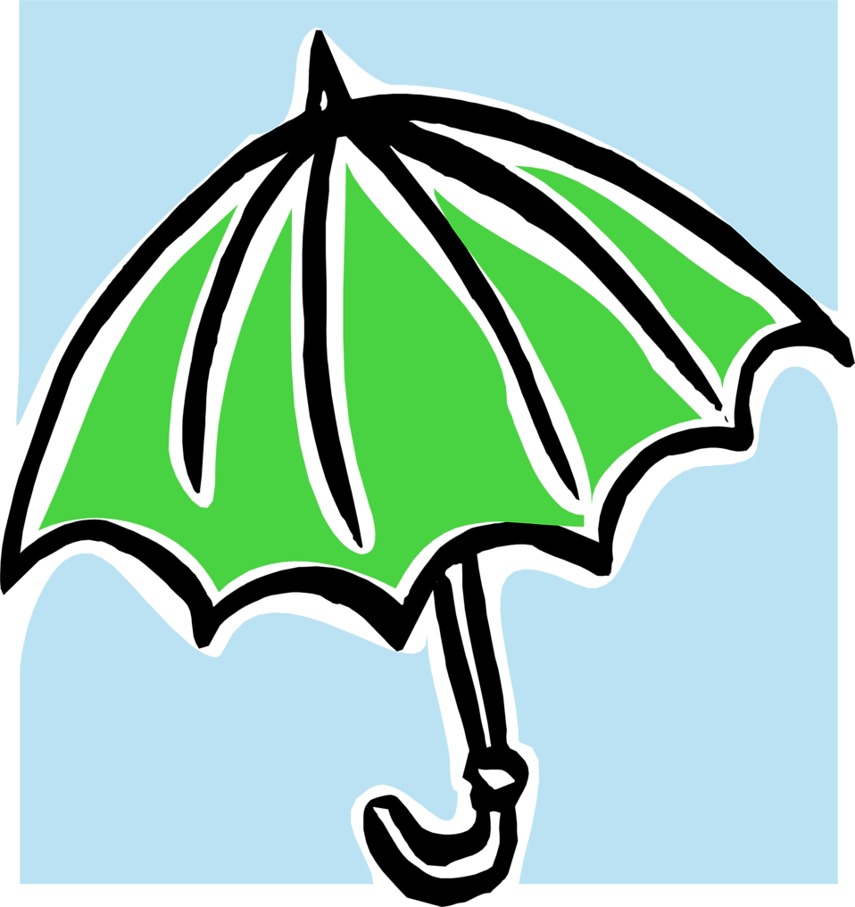 Illustration of a green umbrella : Free Stock Photo
