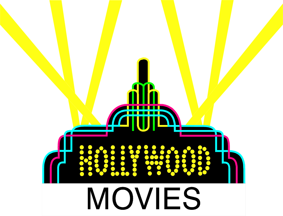 Illustration of a Hollywood sign with movies text and spotlights : Free Stock Photo