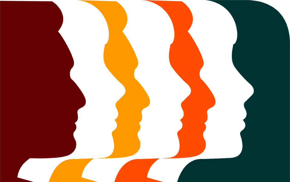 Illustration of colored face profiles.