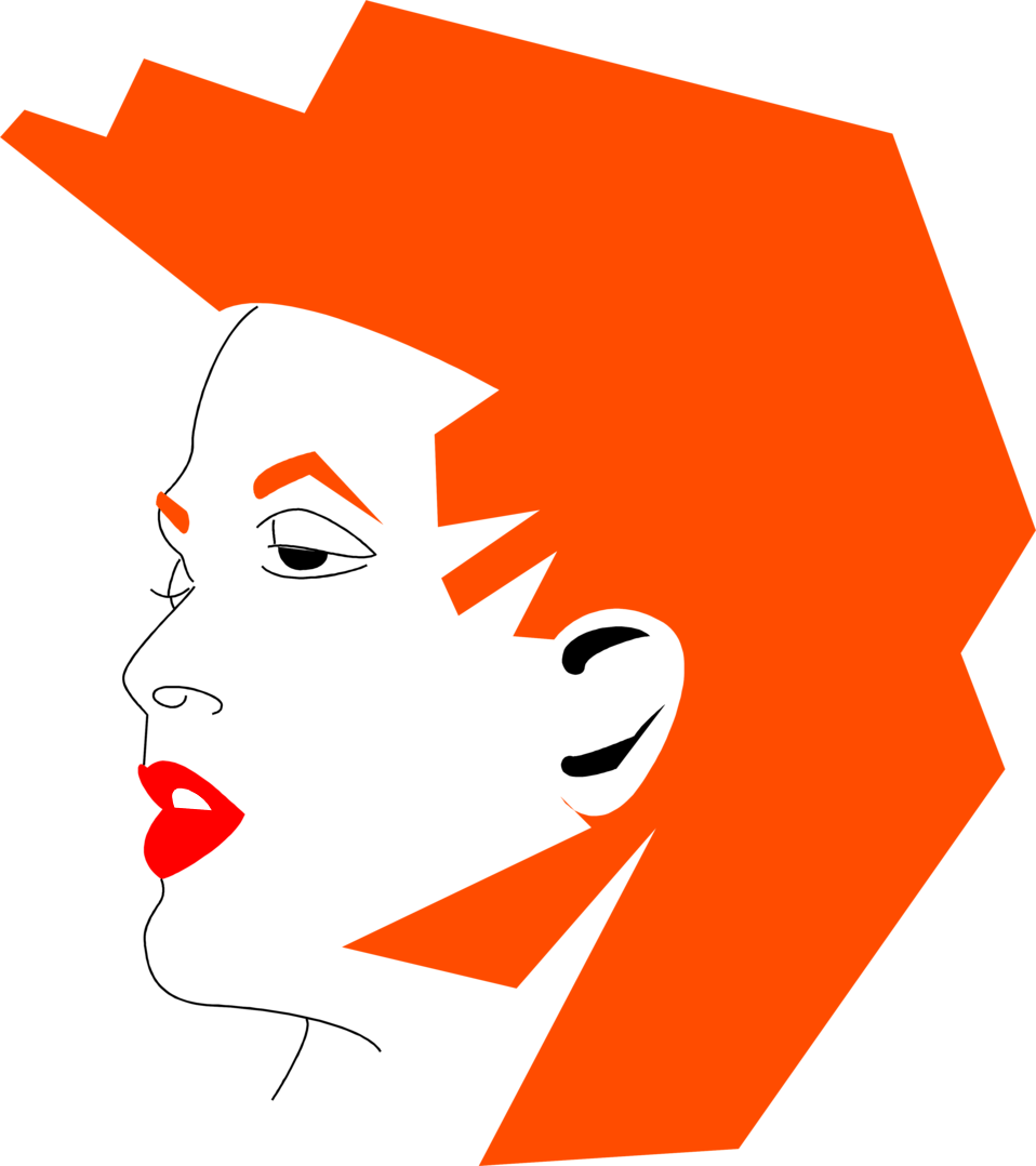 Illustration of a womans face with orange hair : Free Stock Photo