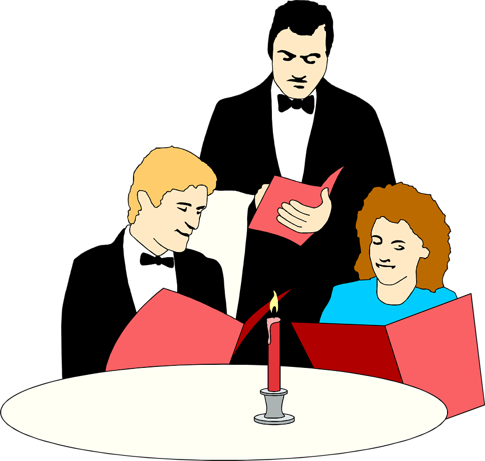 Illustration of a waiter serving a couple at a fancy dinner : Free Stock Photo
