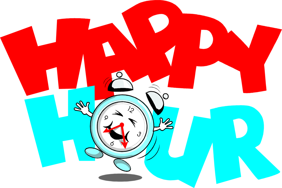 Illustration of a dancing clock with happy hour text : Free Stock Photo